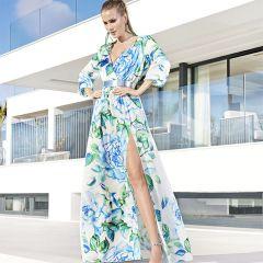 Vestido Largo,Con Mangas Sonia Peña M-11213009-AZUL-38