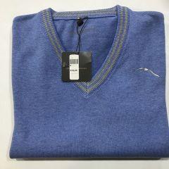 Jersey Cuello Pico Adolfo Dominguez 100% Algodón C-15366-AZUL-XL